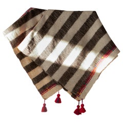 One of a Kind Handwoven Wool Throw in Grey Stripes with Red Tassels, in Stock