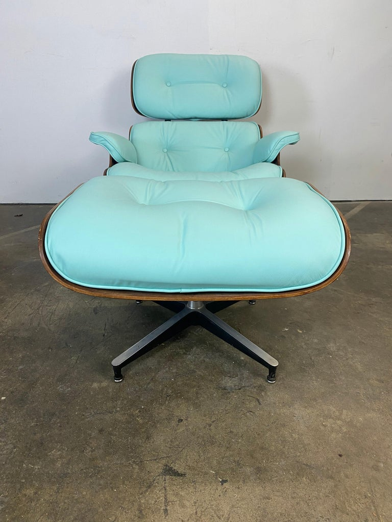 Mid-Century Modern Mint Green Herman Miller Eames Lounge Chair and Ottoman with Custom Leather For Sale
