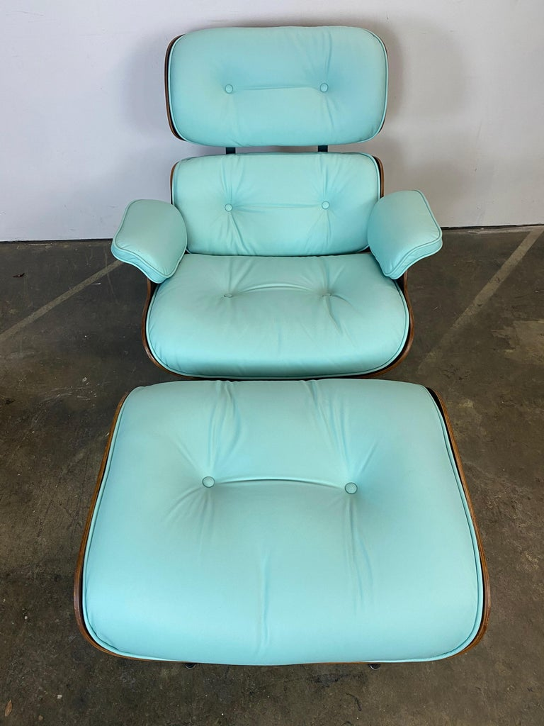 American Mint Green Herman Miller Eames Lounge Chair and Ottoman with Custom Leather For Sale
