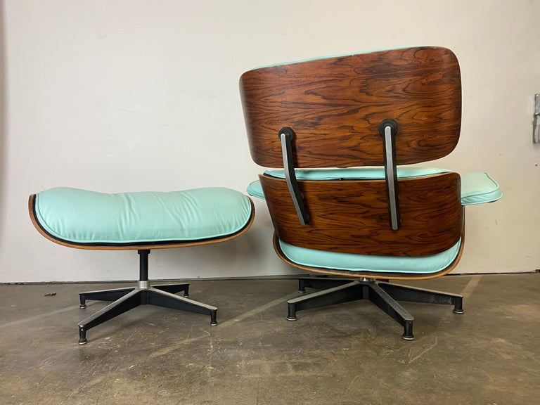 Mint Green Herman Miller Eames Lounge Chair and Ottoman with Custom Leather In Good Condition For Sale In Brooklyn, NY