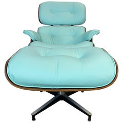 Mint Green Herman Miller Eames Lounge Chair and Ottoman with Custom Leather