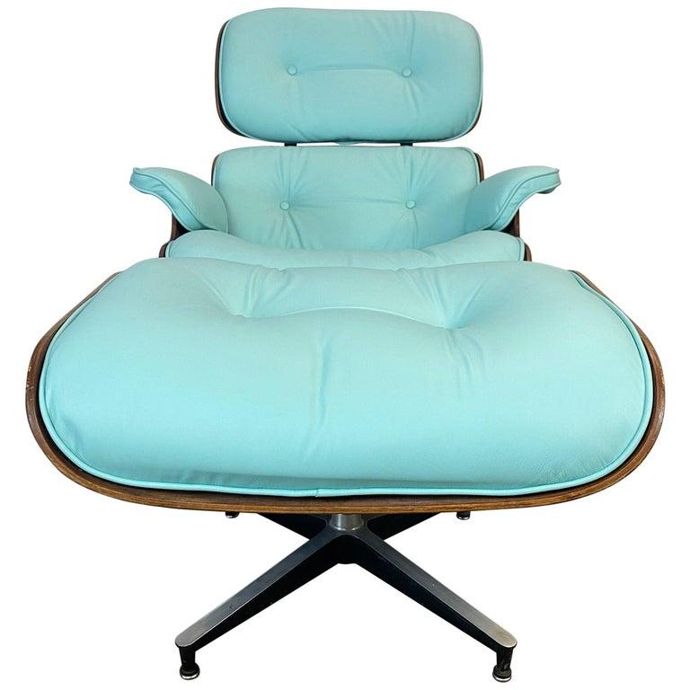 Mint Green Herman Miller Eames Lounge Chair and Ottoman with Custom Leather For Sale