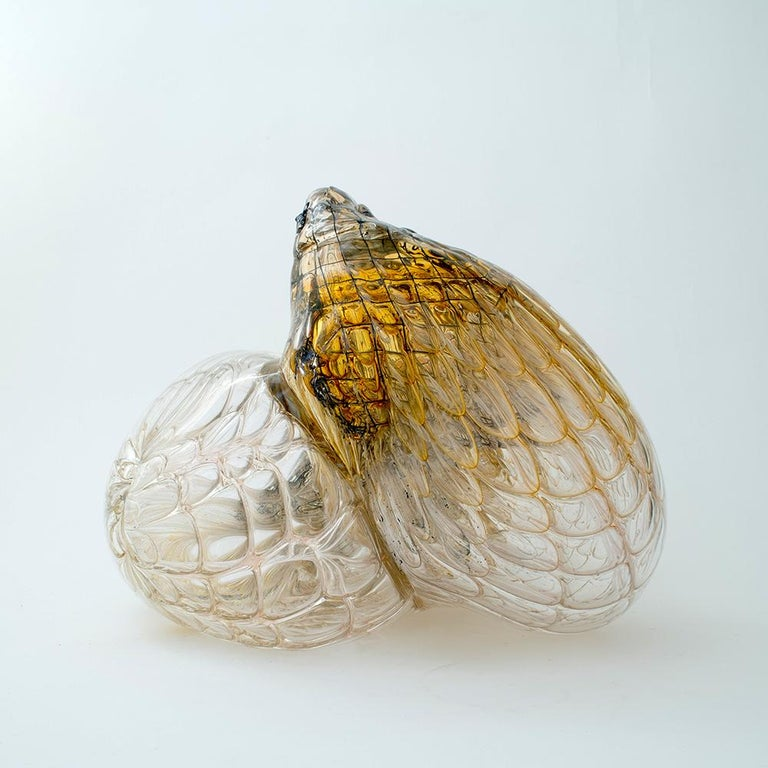 Hand-Crafted One of a Kind Honeycomb Object Glass Sculpture by German Artist J. F. Zimmermann For Sale