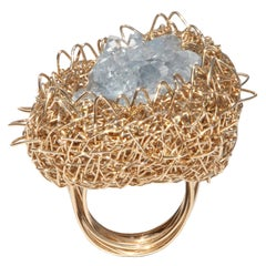 One of a Kind Ice Blue Selenite Gold Statement Cocktail Ring by Sheila Westera