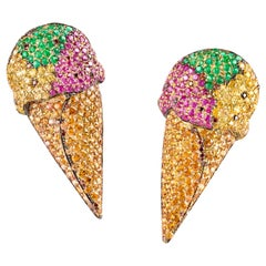 "One-of-a-Kind ""Ice Cream"" Earrings with Diamonds, Sapphires and Emeralds"