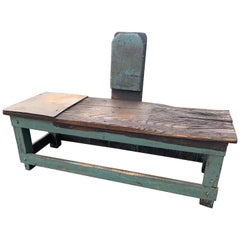 One of a Kind Industrial Distressed and Painted Wood Work Bench