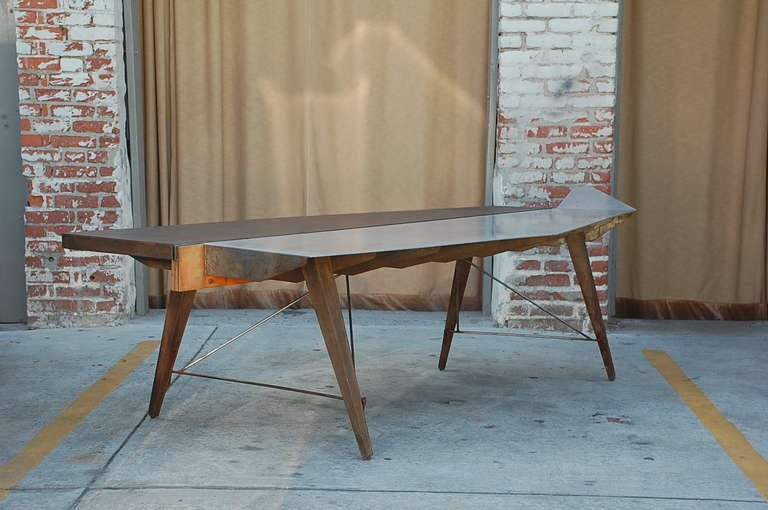 One of a Kind Industrial Studio Work Table / Desk In Good Condition For Sale In Los Angeles, CA