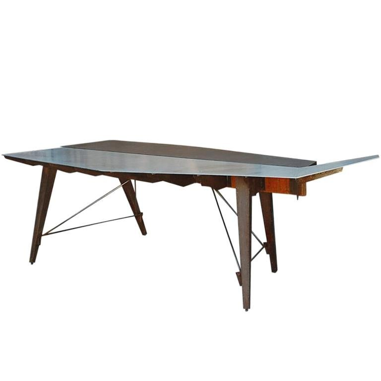 One of a Kind Industrial Studio Work Table / Desk For Sale