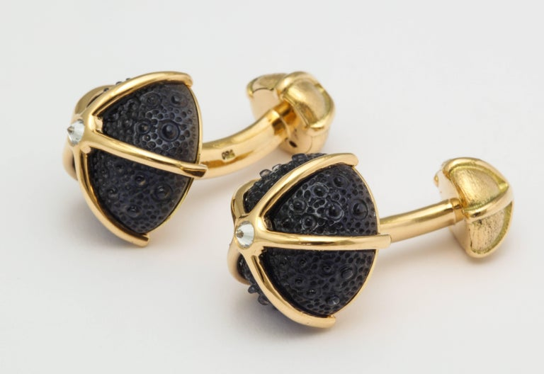 Mixed Cut One of a Kind Iolite and Diamond Sea Urchin Cufflinks by Michael Kanners For Sale
