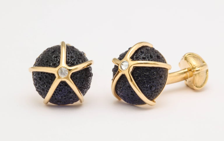 Women's or Men's One of a Kind Iolite and Diamond Sea Urchin Cufflinks by Michael Kanners For Sale