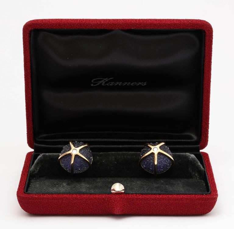 One of a Kind Iolite and Diamond Sea Urchin Cufflinks by Michael Kanners For Sale 3
