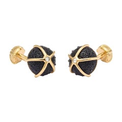 One of a Kind Iolite and Diamond Sea Urchin Cufflinks by Michael Kanners