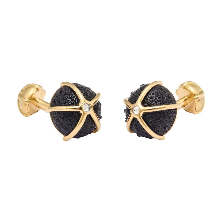 One of a Kind Iolite and Diamond Sea Urchin Cufflinks by Michael Kanners For Sale