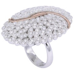Italian Cocktail Fashion Ring 2.02 Carats 18K White Gold