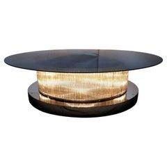 One of a Kind Italian Coffee Table w/Crystal Bars, Chrome Base & Glass Top,1990s