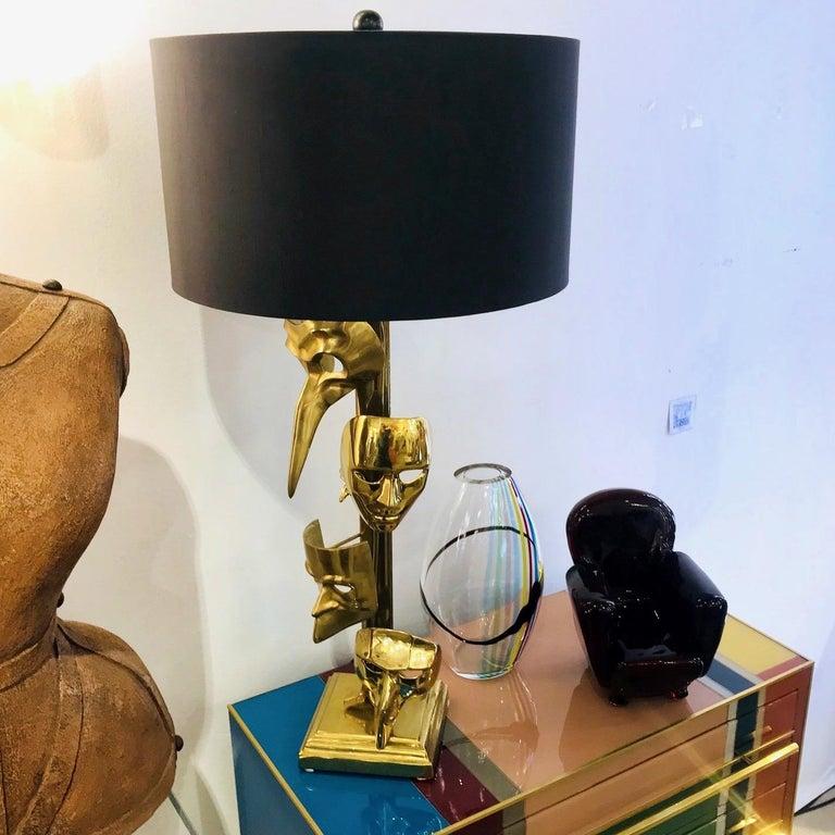 One-of-a-Kind Italian Pair of Carnival Lamps Decorated with Cast Bronze Masks For Sale 5