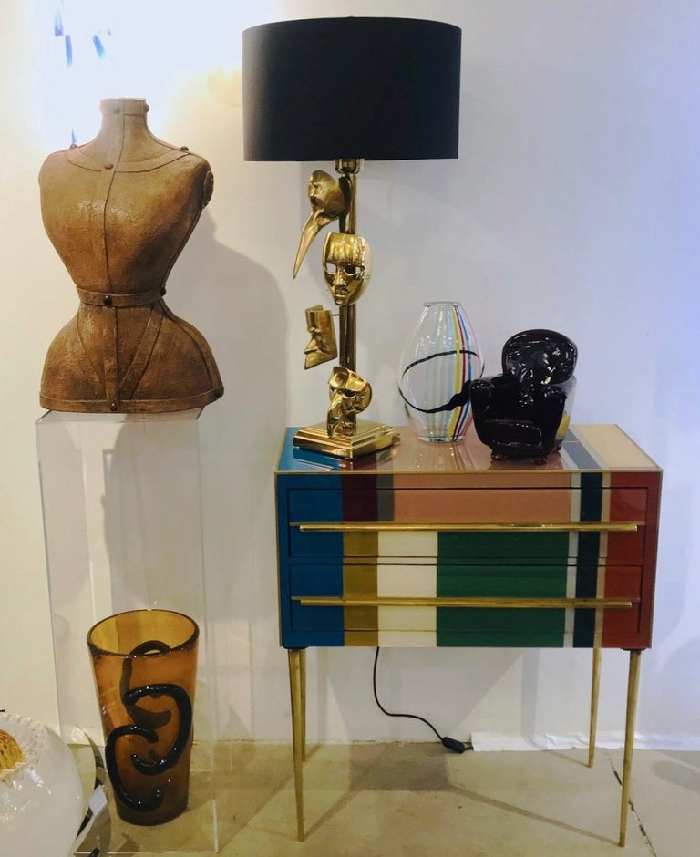 One-of-a-Kind Italian Pair of Carnival Lamps Decorated with Cast Bronze Masks For Sale 8