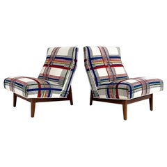 One of a Kind Jens Risom Walnut Slipper Chairs in Hermès Wool, Pair
