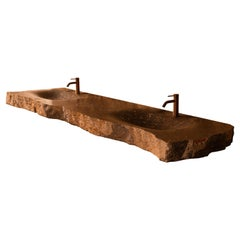 Aina One of a Kind Jurassic Fossil Marble Erosion Double Sink, Unique Collection