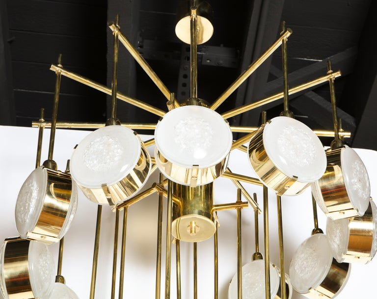 Large Brass and Clear Murano Glass Disc Spiral Cascading Chandelier, Italy For Sale 8
