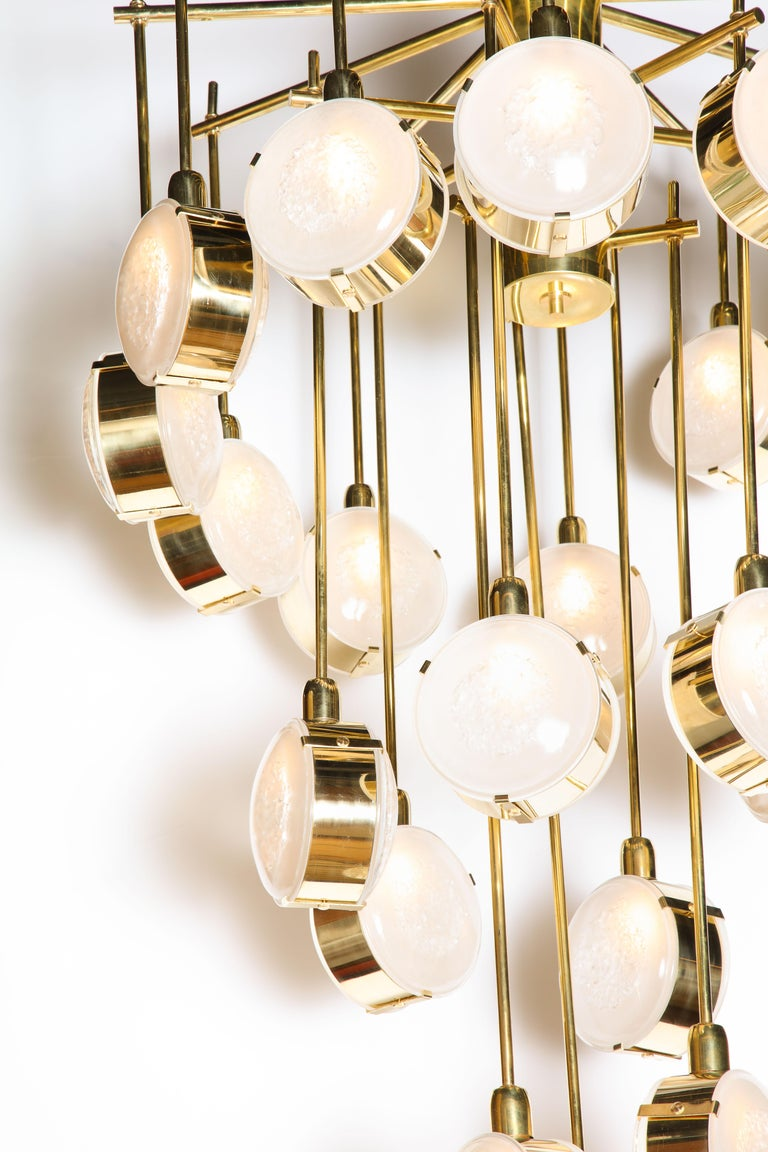 Italian Large Brass and Clear Murano Glass Disc Spiral Cascading Chandelier, Italy For Sale