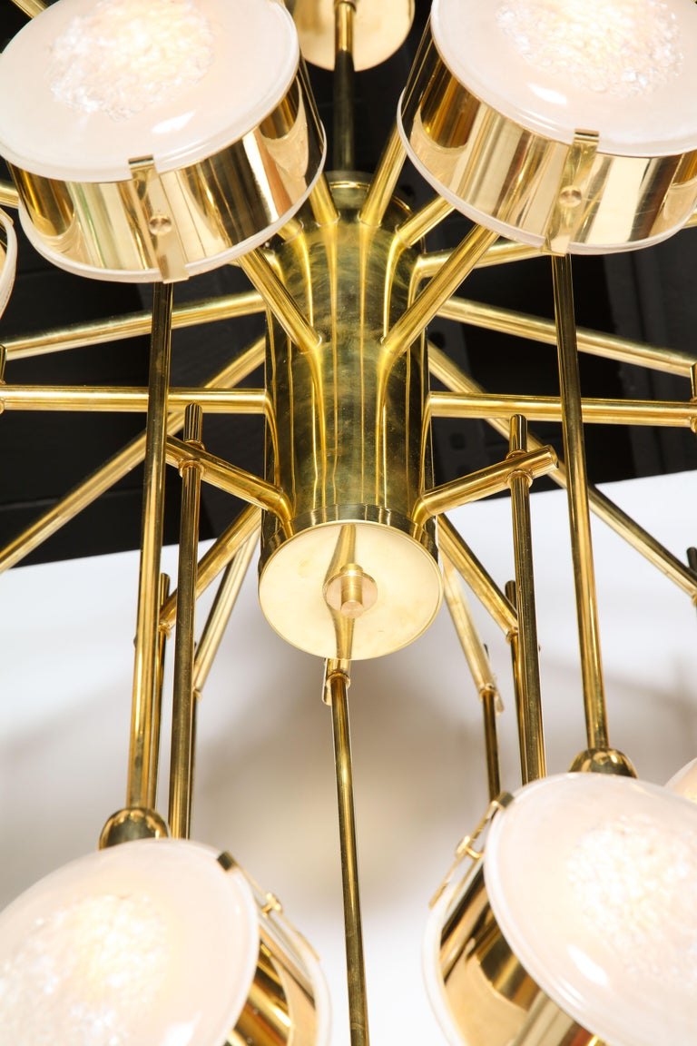 Contemporary Large Brass and Clear Murano Glass Disc Spiral Cascading Chandelier, Italy For Sale