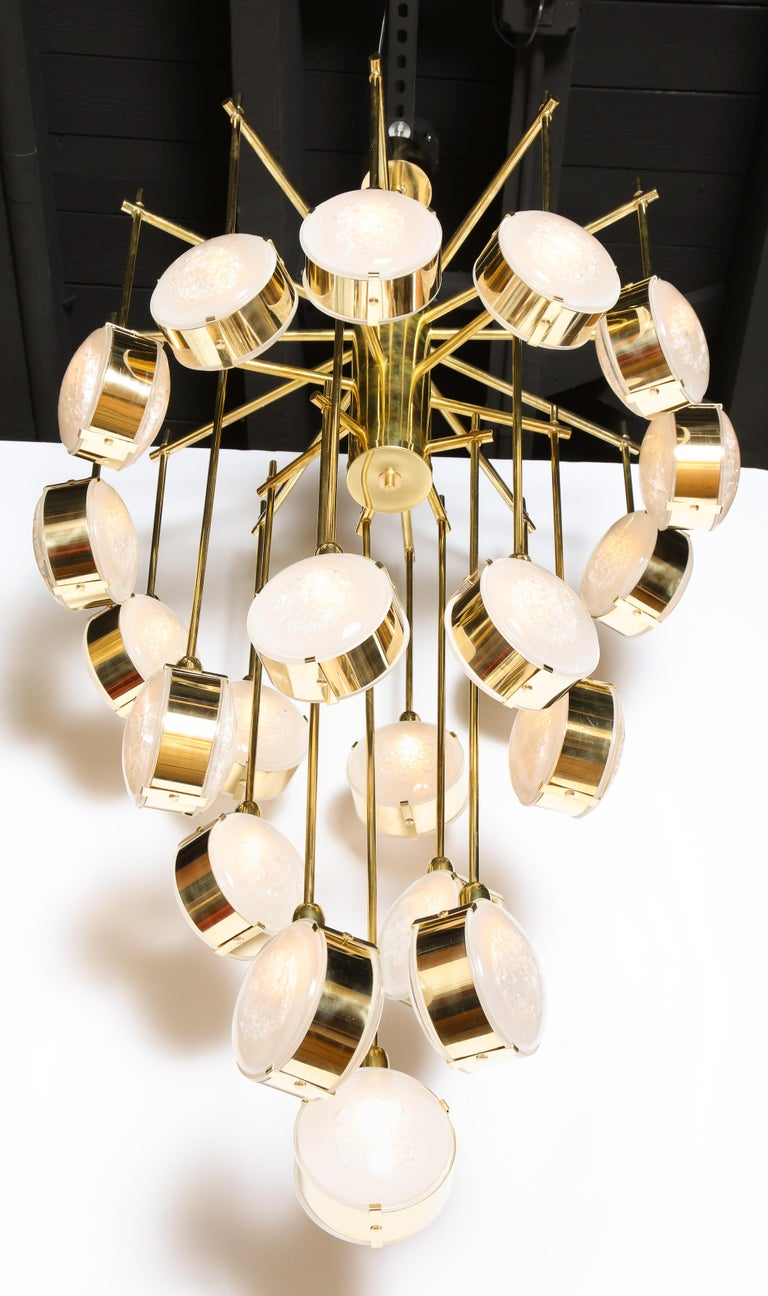 Large Brass and Clear Murano Glass Disc Spiral Cascading Chandelier, Italy For Sale 2