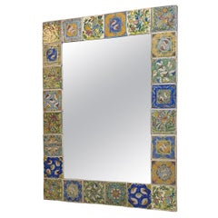 One of a Kind Large Hand Painted Ceramic Tile Mirror