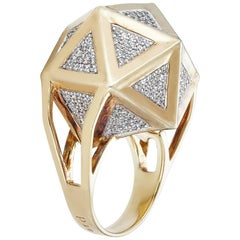 One of a Kind Large Icoso White Diamonds 18 Karat Gold Ring