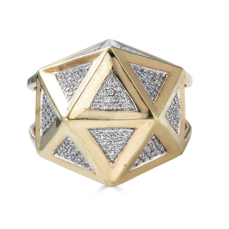 Modern One of a Kind Large Icoso White Diamonds 18K Gold Ring For Sale