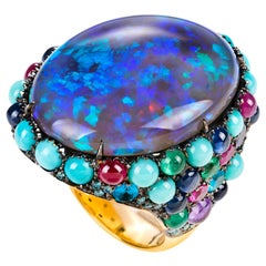 "Yellow Gold ""Lightning ridge"" Black Opal Cocktail Ring"