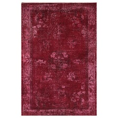 4x6.7 ft Vintage Turkish Handmade Art Deco Rug Over-dyed in Deep Dark Red