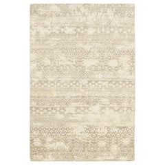 One of a Kind Modern Wool Hand Knotted Area Rug, Linen
