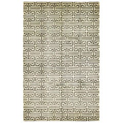 One-of-a-Kind Modern Wool Hand Knotted Area Rug, Parchment