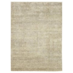 One-of-a-Kind Modern Wool Hand Knotted Area Rug, Silver