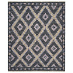 One of a Kind Modern Wool Handwoven Area Rug, Stone