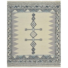 One of a Kind Modern Wool Handwoven Area Rug, Parchment
