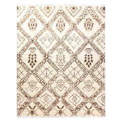One-of-a-Kind Moroccan Wool Cotton Blend Handmade Area Rug, Ivory