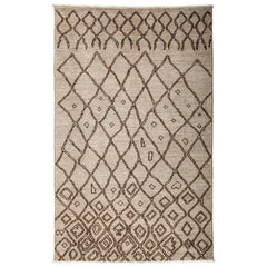 One-of-a-Kind Moroccan Wool Hand Knotted Area Rug, Bone