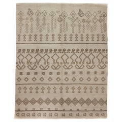 One of a Kind Moroccan Wool Hand Knotted Area Rug, Linen