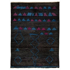 One of a Kind Moroccan Wool Hand Knotted Area Rug, Onyx