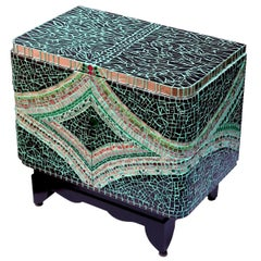 One of a Kind Mosaic Art Deco Green Colorful Cabinet, France