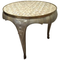One of a Kind Mother of Pearl Straw Marquetry Art Deco Gueridon Table, France