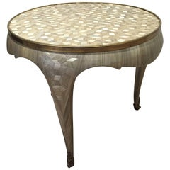 One of a Kind Mother-of-Pearl Straw Marquetry Art Deco Gueridon Table, France
