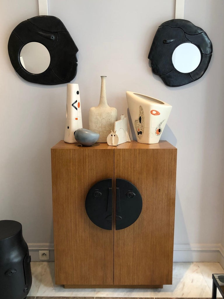 Contemporary One of a Kind Oak Cabinet with Ceramic Handles Signed by Dalo For Sale