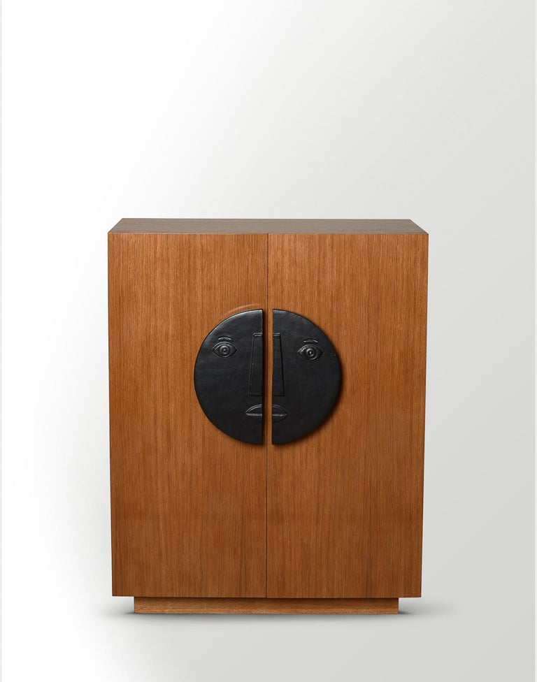 One of a Kind Oak Cabinet with Ceramic Handles Signed by Dalo In Excellent Condition For Sale In Paris, FR