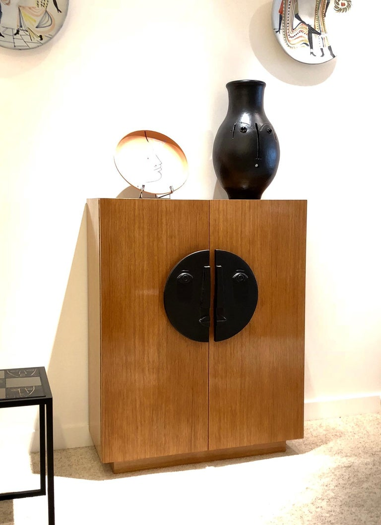 One of a Kind Oak Cabinet with Ceramic Handles Signed by Dalo For Sale 2