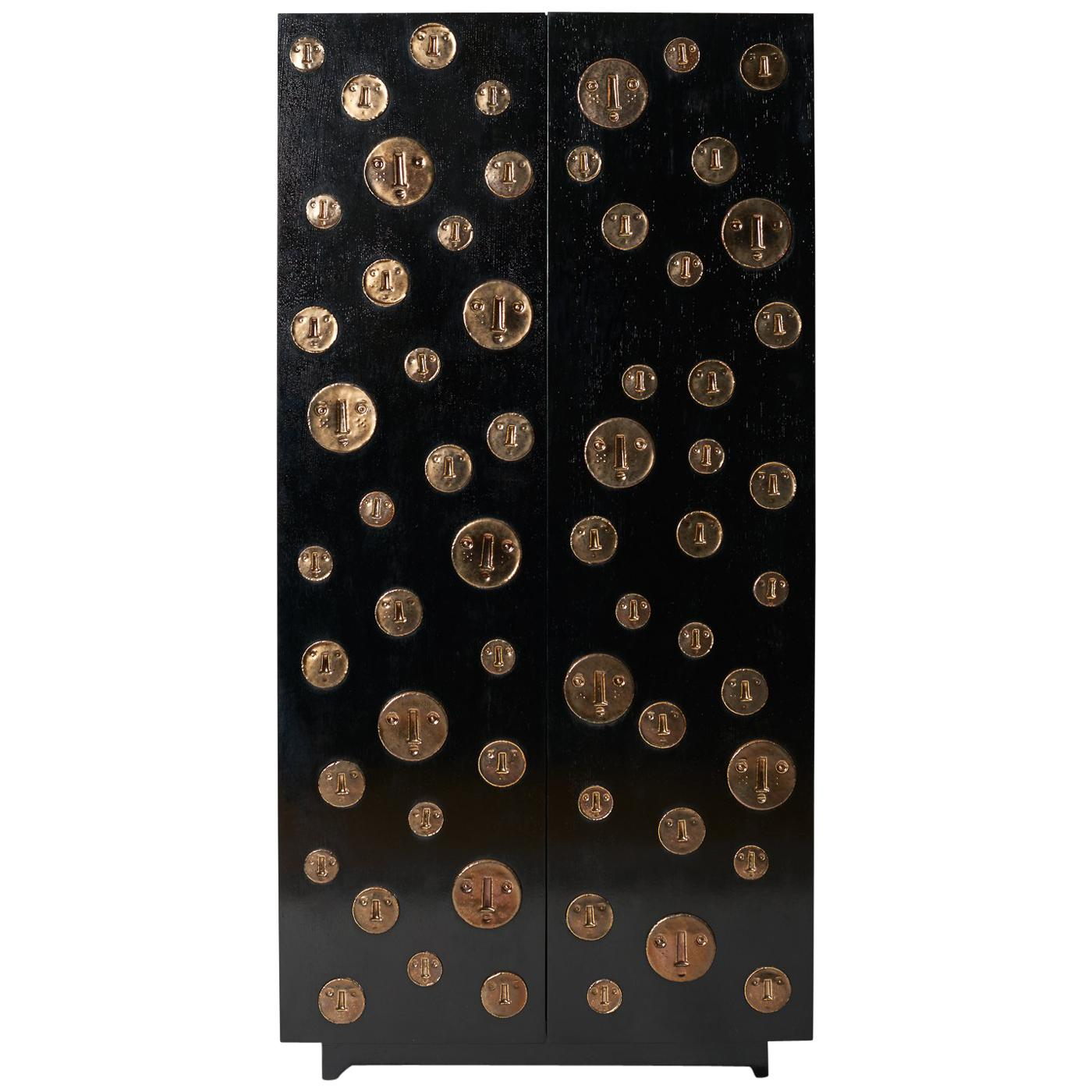 One of a Kind Oak Cabinet with Ceramic Medallions Signed by Dalo