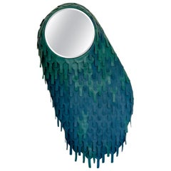 One of a Kind Organic Modern Leather Artist's Mirror, France, 2018