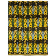 One of a Kind Oriental Ikat Wool Hand Knotted Area Rug, Multi